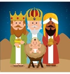 Three wise kings baby jesus manger vector