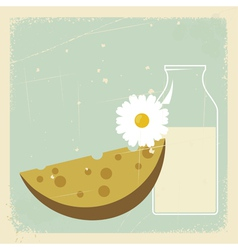 Vintage Milk Cheese Card vector image vector image