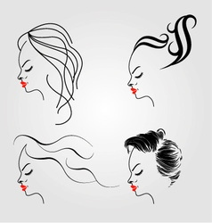 Women with different hairstyles vector image vector image