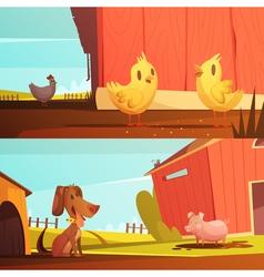 Farm Animals 2 Horizontal Cartoon Banners vector image