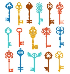 Colorful keys set vector