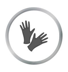 Black protective rubber gloves icon cartoon vector image