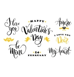 Happy Valentines Day Set of hand drawn vector image