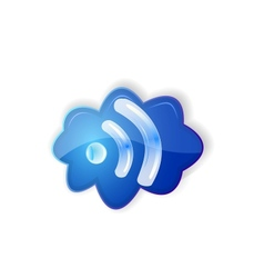Cloud rss icon set vector image