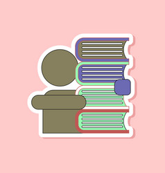 paper sticker on stylish background schoolboy vector image
