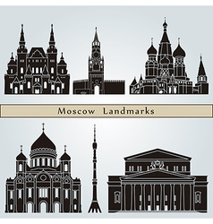Moscow landmarks and monuments vector