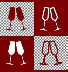 Sparkling champagne glasses  bordo and vector
