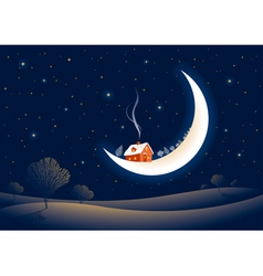 Christmas moonlit night vector image