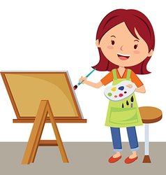 Cartoon artist painting vector