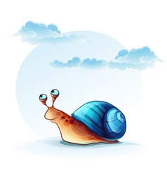 cheerful snail on a background of sky with clouds vector image