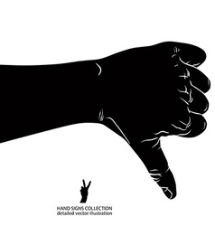 Thumb down hand sign detailed black and white vector