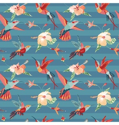 Hummingbird and tropical background vector