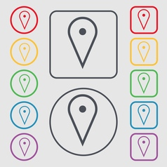 Map poiner icon sign symbol on the round and vector
