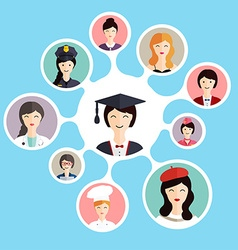 Graduation famale student make career choices vector