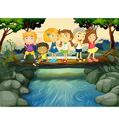 Children having fun by the river vector