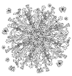 Hand drawing zentangle element black and white vector