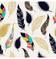 Feather tribal seamless pattern vector
