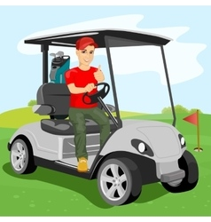 Young golfer driving a golf-cart with clubs vector