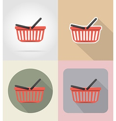 food objects flat icons 11 vector image