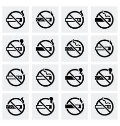 No smoking icon set vector image