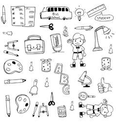 School doodles hand draw flat vector