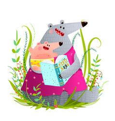 bear mother reading book to kid vector image vector image