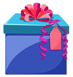 Blue box with pink ribbon vector image