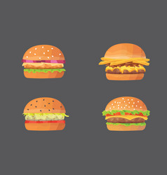 burger cartoon fast food set cheeseburger and vector image vector image