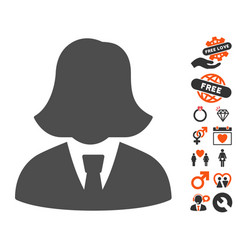 Business lady icon with lovely bonus vector