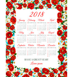 Calendar 2018 of spring flowers frame vector
