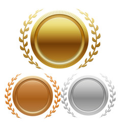 Champion gold silver and bronze award medals vector
