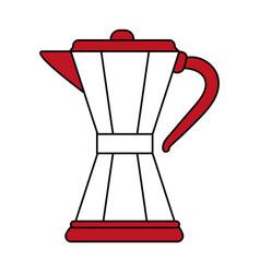 Color silhouette image cartoon jar tea pot for hot vector