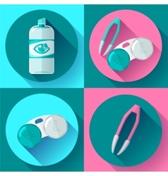 Contact lens case Container daily solution and vector image
