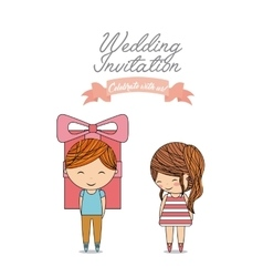 Couple cartoon icon invitation and save the date vector