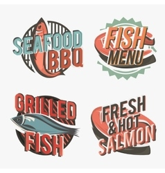Creative set of fish logos include salmon steak vector