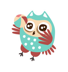 cute cartoon owl bird playing a ball colorful vector image vector image
