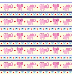 Elephant Pink Fun Pattern vector image vector image
