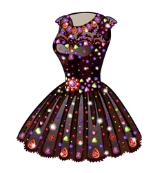 Evening princess dress inlaid with precious stones vector