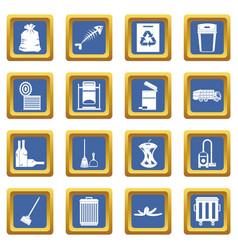 Garbage thing icons set blue vector
