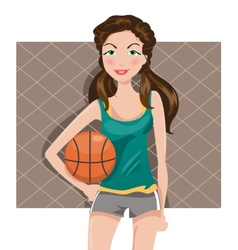girl with a basketball vector image