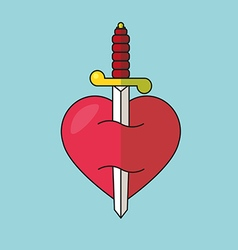 Heart with dagger icon vector image vector image
