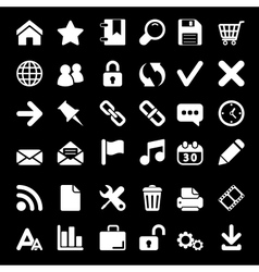 Icons For Web and Mobile on black background vector image vector image