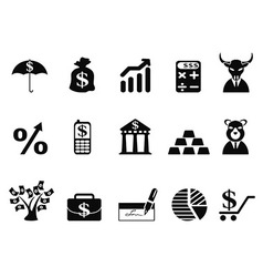 investing and Finance icons set vector image