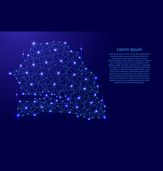 Map of senegal from polygonal blue lines vector