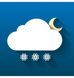 Night cloud moon and snow flakes isolated on dark vector