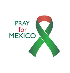 pray for mexico earthquake ribbon with flowers vector image vector image