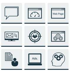 Set of 9 advertising icons includes intellectual vector
