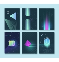 Set of backgrounds neon space 80s style vector image
