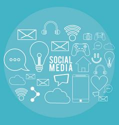social media communication technology digital vector image
