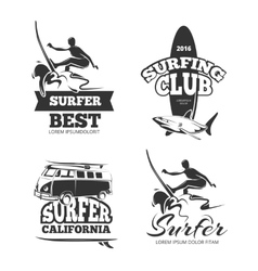 Vintage black surf graphics emblems and labels vector image